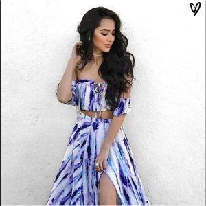 NWT Lulu's INGENUE Purple Flowy Maxi Skirt Set S